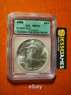 1986 $1 American Silver Eagle Icg Ms70 Green Label Better Date