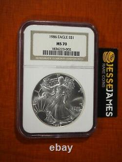 1986 $1 American Silver Eagle Ngc Ms70 Classic Brown Label