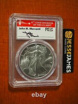 1986 $1 American Silver Eagle Pcgs Ms70 John Mercanti Signed Bridge Label Pop 63