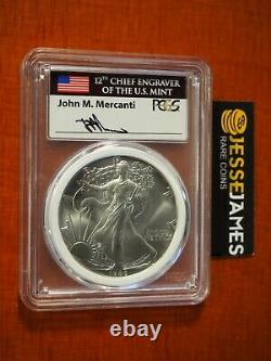 1986 $1 American Silver Eagle Pcgs Ms70 Mercanti Signed Mint Engravers Series
