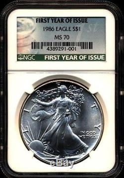 1986 $1 Ngc Ms70 First Year Of Issue Silver American Eagle 1 Oz. 999 Fine