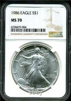 1986 $1 Silver American Eagle MS70 NGC 6258479-004