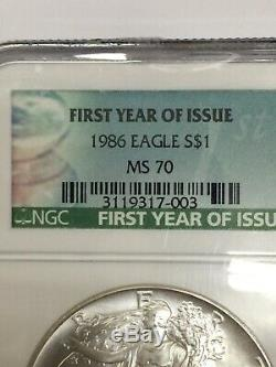 1986 1 oz American Silver Eagle NGC MS70 FIRST YEAR OF ISSUE