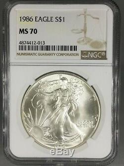 1986 1 oz American Silver Eagle NGC MS70 RARE KEY DATE