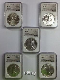 1986,1987,1993,2016, &2018 Silver American Eagle NGC MS-69 (Lot of 5)