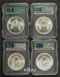 1986-2001 1 oz AMERICAN EAGLE $1 SILVER DOLLAR LOT (16 COINS) ICG MS 69 #L310