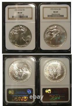 1986-2005 $1 American Silver Eagle NGC MS69 Set 20 Coins in Case Incl. KEY 1996