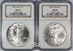 1986-2005 $1 American Silver Eagle Set NGC MS69 Including NGC Box