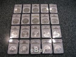 1986-2005 1oz AMERICAN SILVER EAGLE COIN NGC GRADED MS69 20 COIN FULL SET BOX