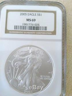 1986-2005 20-Coin Silver American Eagle Set MS-69 NGC CASE SLABS