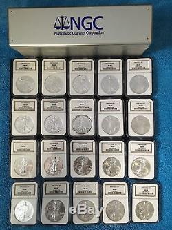 1986-2005 American Silver Eagle Box Set Of 20-MS 69