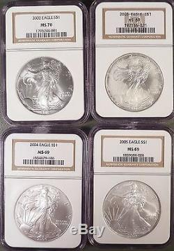 1986-2005 American Silver Eagle Dollar 20 Year Set, NGC graded MS69. Lustrous