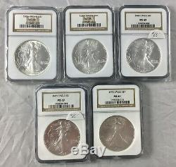 1986-2005 American Silver Eagle Set 20 Coins in NGC Box All NGC MS69