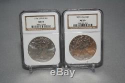 1986-2005 American Silver Eagle Set MS69 Graded By NGC in NGC Container
