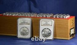 1986-2005 American Silver Eagles 20-Coin Set Each Graded NGC MS69 with Wooden Box