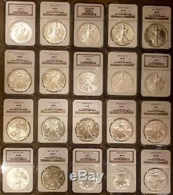 1986-2005 Silver American Eagle Set/ NGC-MS69/ 20 Coins Total