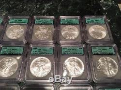 1986-2006 ICG MS69 $1 American Silver Eagle Coin Set Lot Of 21