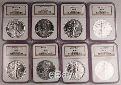 1986-2007 $1 1 Oz 999 American Eagle Silver Coin 22 Piece Set All MS69 by NGC BU
