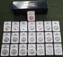1986 2007 $1 NGC MS 69 American Silver Eagles 1 ozt Lot of (22) Graded Coins