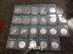 1986-2007 Silver American Eagle Set MS69 ICG $1 US Mint 22 Coins in Wood Box