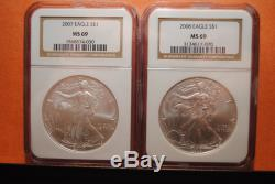 1986-2008 American Silver Eagles (23), All NGC MS69, All Gold Label