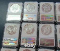 1986 2009 American Silver Eagle Coin Set NGC MS69 (24) 1oz. 999 Silver Coins