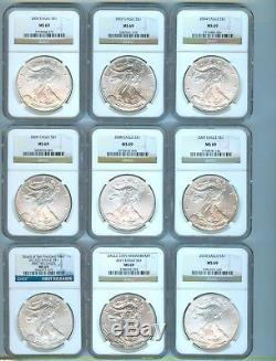1986 2013 American Eagle Silver Coin Group 28 Coins Total Ngc Ms 69