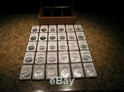 1986-2014 AMERICAN SILVER EAGLES + NGC MS69 + From US Mint + 30 Coins in case