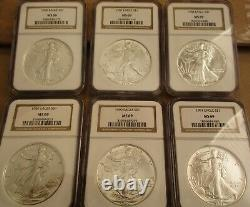 1986-2015 30 Coin American Silver Eagle Set NGC MS 69 Brown Label Wood Box