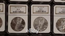1986-2015 30-Coin MS69 Silver American Eagle Set, key dates