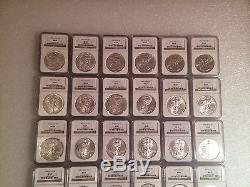 1986 2015 Complete 30 Coin American Silver Eagle Set Ngc Ms69 Brown/gold Label