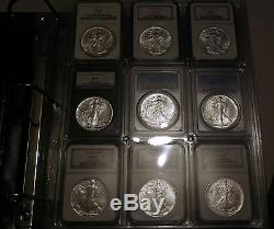 1986-2015 MS-69 American Silver Eagle 30 Coin Set in Coin Slab Binder WOW