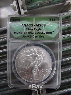 1986-2015 MS69 ANACS American Silver Eagle 30 Coin Set #1D 2D