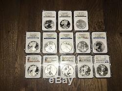 1986-2016 American Silver Eagle Col. 41 coins NGC Cert. PF/MS 69+Annv Sets RARE