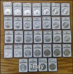 1986-2017 $1 AMERICAN SILVER EAGLE Complete Set NGC MS69 32 Coins BINo