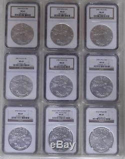 1986-2017 32 Coin American Silver Eagle Complete Set, Ngc Ms-69, Deluxe Binder
