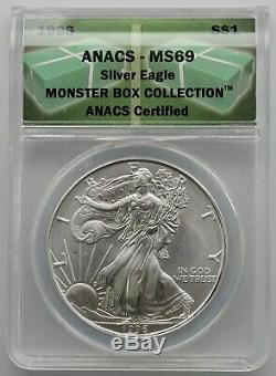 1986-2017 American Silver Eagle ANACS MS69 Incls 1997, 1994, 1996 in Nice Box