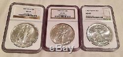 1986-2017 NGC MS-69 All Coins Complete Silver American Eagle Set 1996 1986 1994