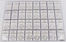 1986-2017 Silver American Eagle Dollar $1 32-Coin Set NGC MS69 with 2 NGC Boxes