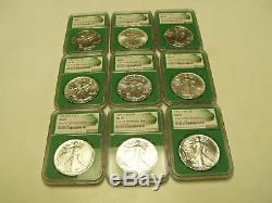 1986-2017american Silver Eagle Monster Box Collection, Ngc Ms 69,32 Coins Set