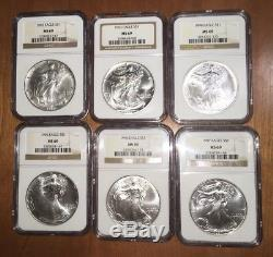 1986 2018 MS69 COMPLETE 33 COIN AMERICAN SILVER EAGLE SET NGC with2 NGC Boxes