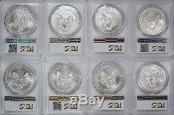 1986-2019 American Silver Eagles Complete 33-Coin Set Each Graded PCGS MS69