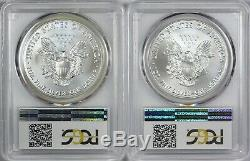 1986-2019 American Silver Eagles Complete 34-Coin Set Each Graded PCGS MS69