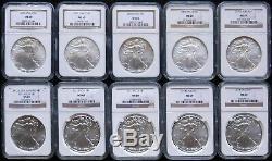 1986 2019 Complete 34 Coin American Silver Eagle Set Ngc Ms 69 Plus Bonus 2016
