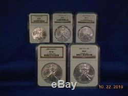 1986-2019 N. G. C. Cumulative M. S. 69 American Eagle Silver SET