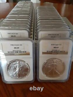 1986-2020 American Silver Eagle ASE S$1 NGC MS69 FULL 35-Coin SET & 2 NGC Boxes