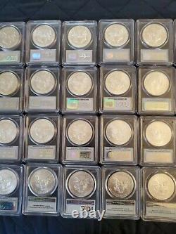 1986-2020 American Silver Eagle Complete 35 Coin Set PCGS MS69 w 2001-2020 FS