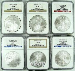 1986-2020 American Silver Eagle NGC MS69 Registry Set 35 Coins
