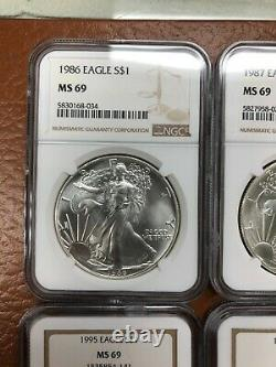 1986 2020 American Silver Eagle Set All NGC MS69 35 Coins withslab boxes
