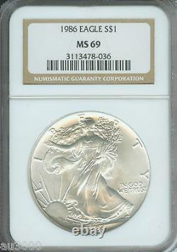 1986-2021 American Silver Eagle ASE S$1 NGC MS69 FULL 36-Coin SET & 2 NGC Boxes